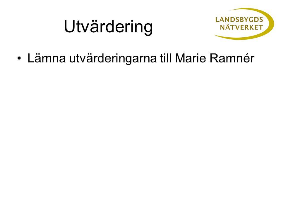 Utvärdering •Lämna utvärderingarna till Marie Ramnér