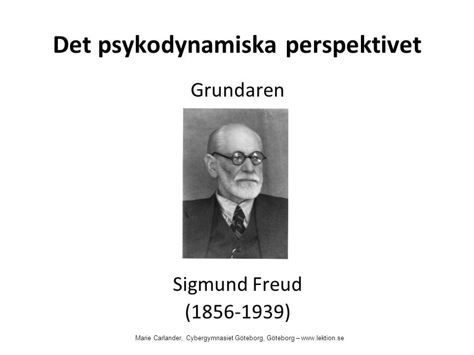 Det psykodynamiska perspektivet Grundaren Sigmund Freud (1856-1939) Marie Carlander, Cybergymnasiet Göteborg, Göteborg – www.lektion.se