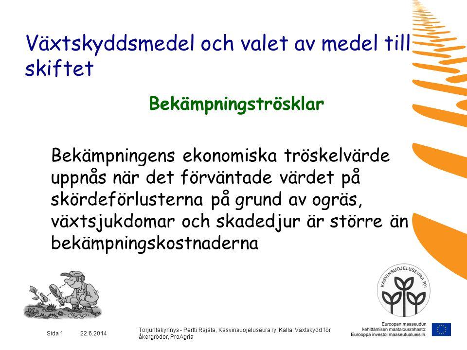 Torjuntakynnys - Pertti Rajala, Kasvinsuojeluseura ry, Källa: Växtskydd för åkergrödor, ProAgria Sida 12 22.6.2014 Växtskyddsmedel och valet av medel till skiftet Bekämpningströskel Växtsjukdomar / Rybs / Bomullsmögel -->Bomullsmögel har förekommit på rybsskiftet eller på en åker i närheten (över 30 % av plantorna sjuka) under de 3 senaste åren  Har regnat över 30 mm under en 3-veckorsperiod före blomningen  Tätt bestånd eller risken för nedslagning stor
