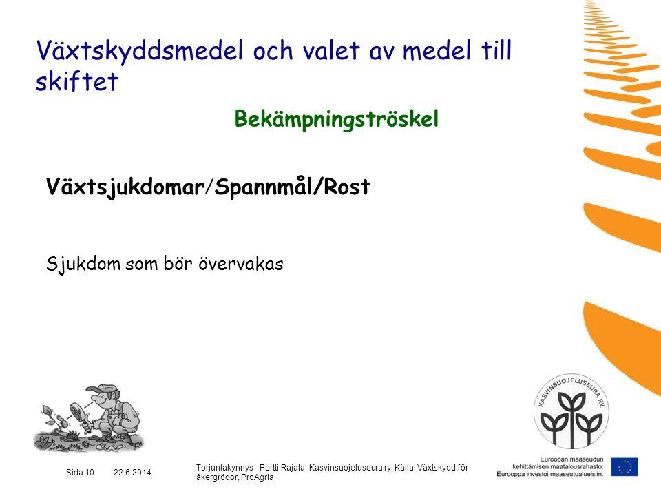 Torjuntakynnys - Pertti Rajala, Kasvinsuojeluseura ry, Källa: Växtskydd för åkergrödor, ProAgria Sida 10 22.6.2014 Växtskyddsmedel och valet av medel