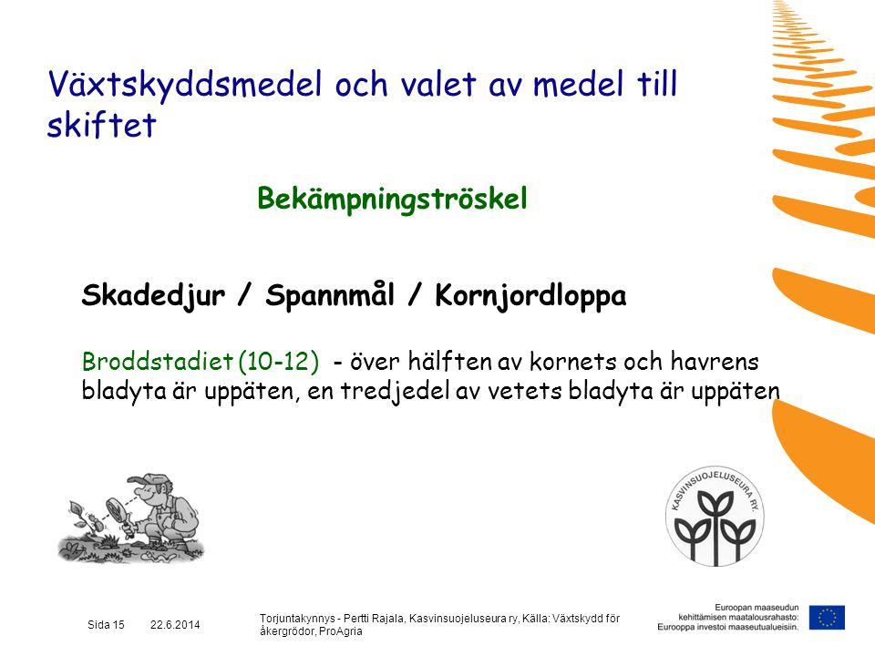 Torjuntakynnys - Pertti Rajala, Kasvinsuojeluseura ry, Källa: Växtskydd för åkergrödor, ProAgria Sida 15 22.6.2014 Växtskyddsmedel och valet av medel