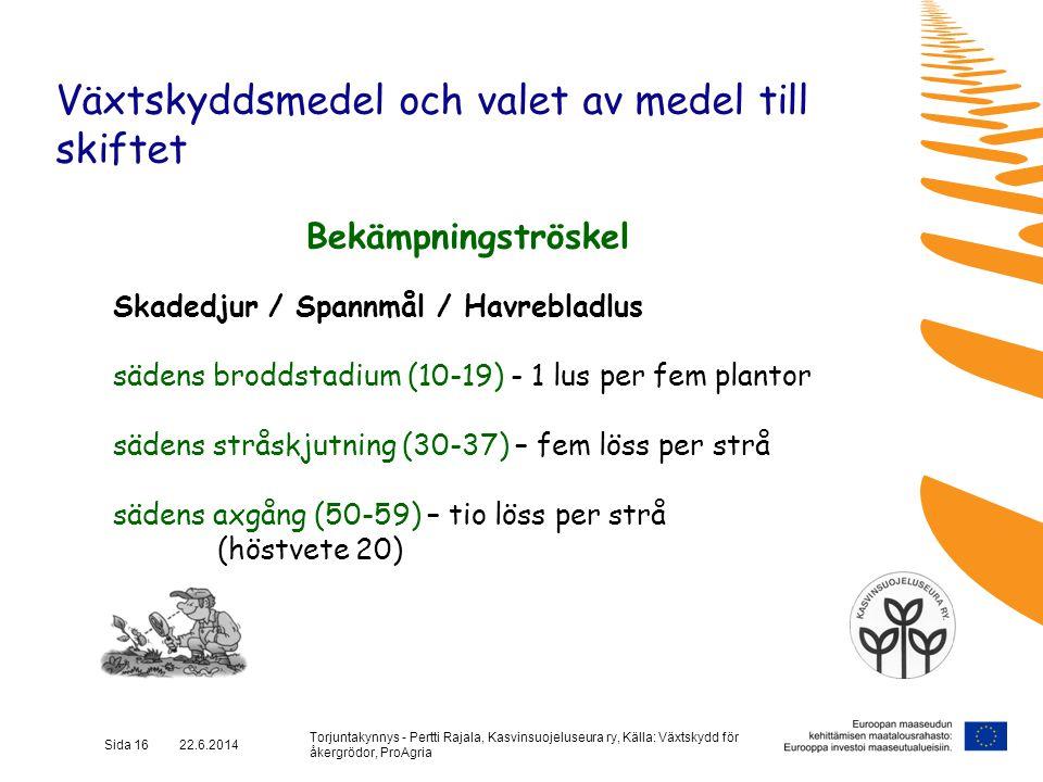 Torjuntakynnys - Pertti Rajala, Kasvinsuojeluseura ry, Källa: Växtskydd för åkergrödor, ProAgria Sida 16 22.6.2014 Växtskyddsmedel och valet av medel