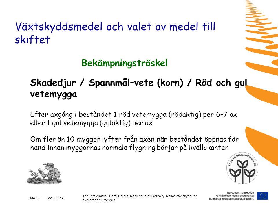 Torjuntakynnys - Pertti Rajala, Kasvinsuojeluseura ry, Källa: Växtskydd för åkergrödor, ProAgria Sida 18 22.6.2014 Växtskyddsmedel och valet av medel