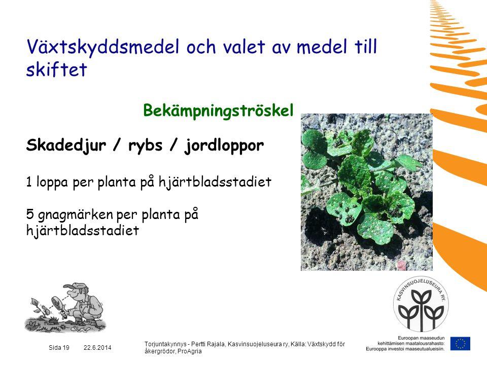Torjuntakynnys - Pertti Rajala, Kasvinsuojeluseura ry, Källa: Växtskydd för åkergrödor, ProAgria Sida 19 22.6.2014 Växtskyddsmedel och valet av medel