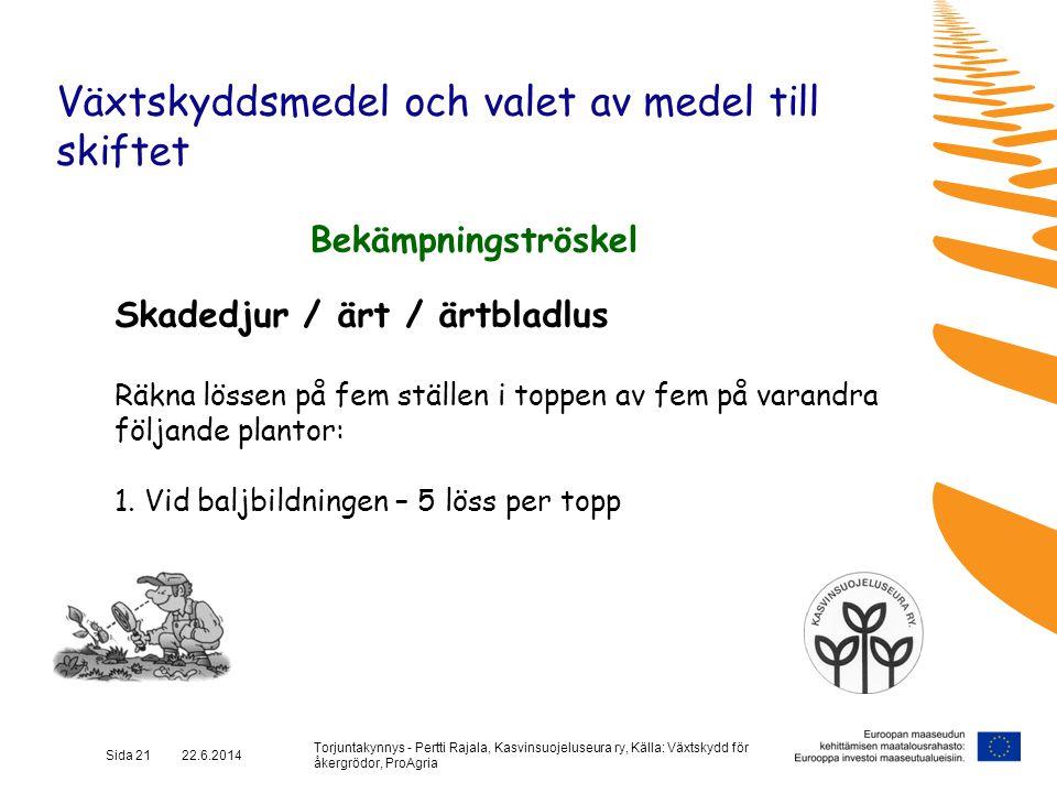 Torjuntakynnys - Pertti Rajala, Kasvinsuojeluseura ry, Källa: Växtskydd för åkergrödor, ProAgria Sida 21 22.6.2014 Växtskyddsmedel och valet av medel