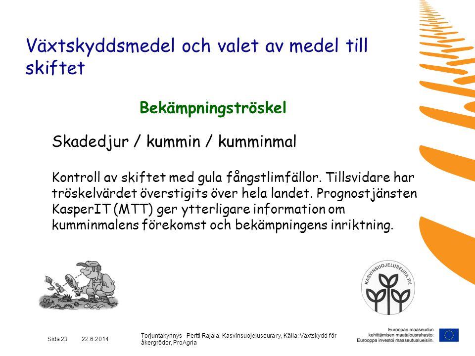 Torjuntakynnys - Pertti Rajala, Kasvinsuojeluseura ry, Källa: Växtskydd för åkergrödor, ProAgria Sida 23 22.6.2014 Växtskyddsmedel och valet av medel