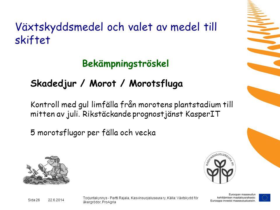 Torjuntakynnys - Pertti Rajala, Kasvinsuojeluseura ry, Källa: Växtskydd för åkergrödor, ProAgria Sida 26 22.6.2014 Växtskyddsmedel och valet av medel