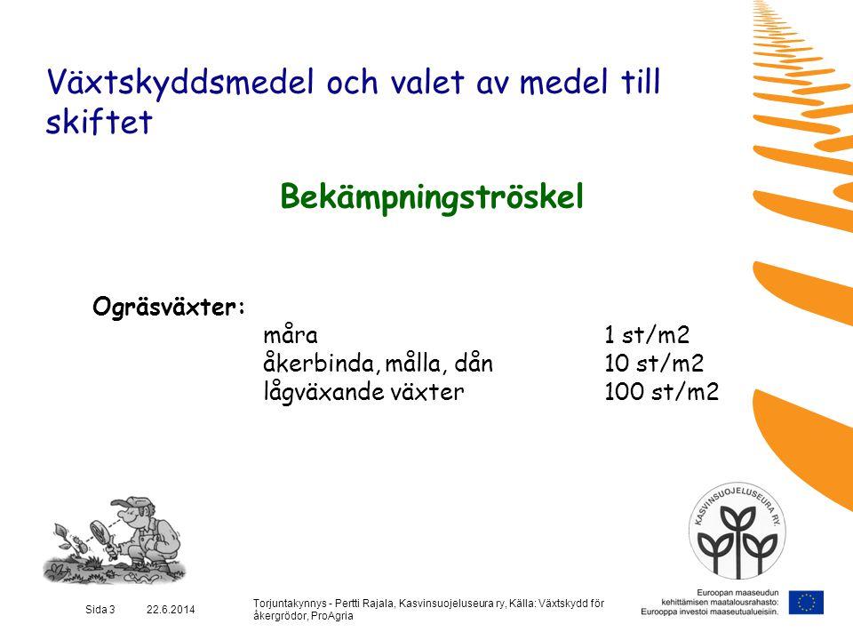 Torjuntakynnys - Pertti Rajala, Kasvinsuojeluseura ry, Källa: Växtskydd för åkergrödor, ProAgria Sida 14 22.6.2014 Växtskyddsmedel och valet av medel till skiftet Bekämpningströskel Växtsjukdomar / Potatis / Filtsjuka  Betning  Särskilt hos de känsligaste sorterna (Frambo och Velox)