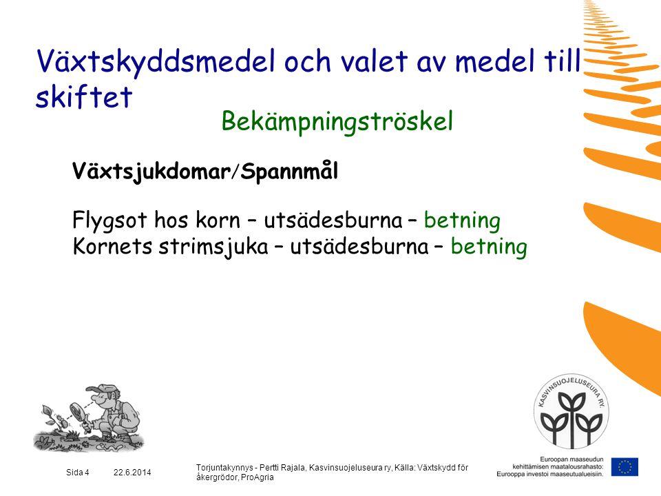 Torjuntakynnys - Pertti Rajala, Kasvinsuojeluseura ry, Källa: Växtskydd för åkergrödor, ProAgria Sida 4 22.6.2014 Växtskyddsmedel och valet av medel t