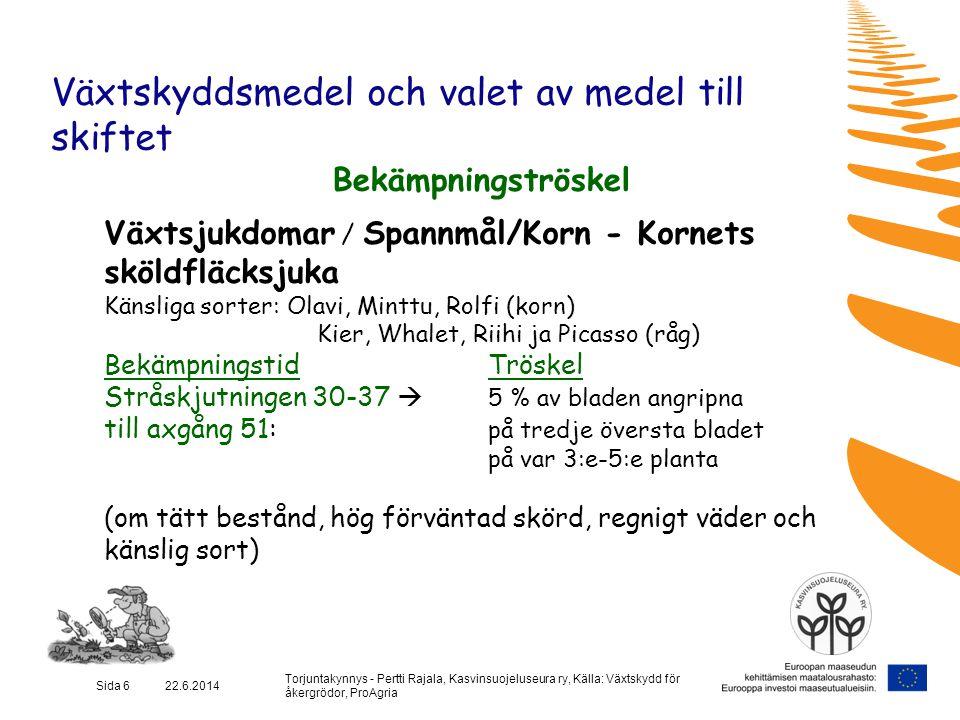 Torjuntakynnys - Pertti Rajala, Kasvinsuojeluseura ry, Källa: Växtskydd för åkergrödor, ProAgria Sida 7 22.6.2014 Växtskyddsmedel och valet av medel till skiftet Bekämpningströskel Växtsjukdomar / Spannmål / Vete - brunfläcksjuka (Septoria) och bladfläcksjuka (DTR) Känsliga sorter: Kruunu, Aino, Picolo och Anniina BekämpningstidTröskel Stråskjutningen 30-37  5 % av bladen angripna på tredje översta bladet Flaggblad-axgång 45-51  5 % av bladen angripna på tredje översta bladet på var 5:e planta Förväntad skörd över 4000 kg