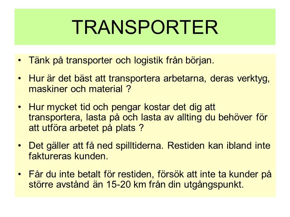 TRANSPORTER •Tänk på transporter och logistik från början. •Hur är det bäst att transportera arbetarna, deras verktyg, maskiner och material ? •Hur my