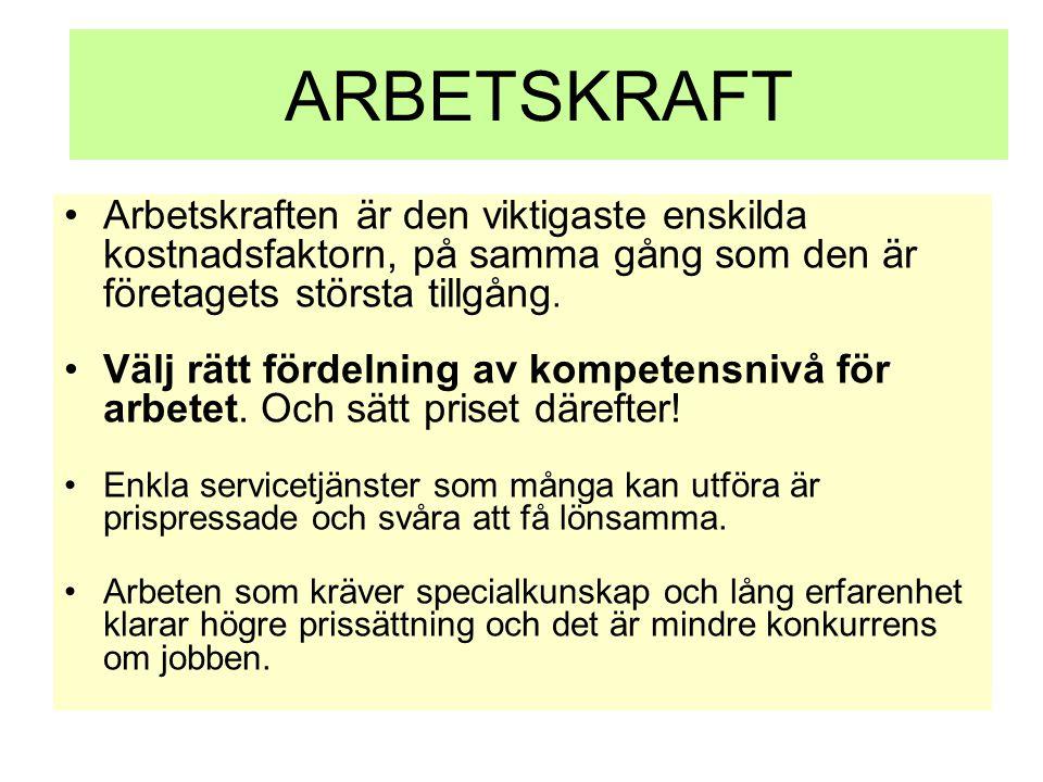 ARBETSKRAFT •Arbetskraften är den viktigaste enskilda kostnadsfaktorn, på samma gång som den är företagets största tillgång. •Välj rätt fördelning av