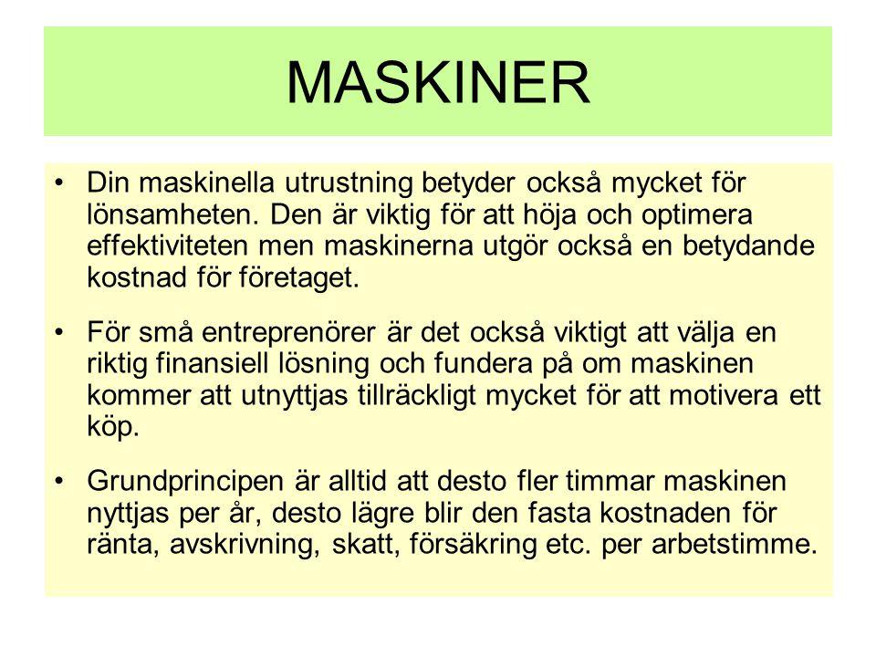MASKINER •Din maskinella utrustning betyder också mycket för lönsamheten. Den är viktig för att höja och optimera effektiviteten men maskinerna utgör