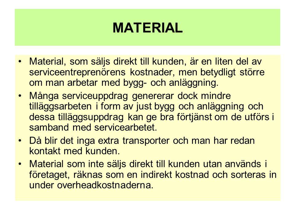 MATERIAL •Material, som säljs direkt till kunden, är en liten del av serviceentreprenörens kostnader, men betydligt större om man arbetar med bygg- oc