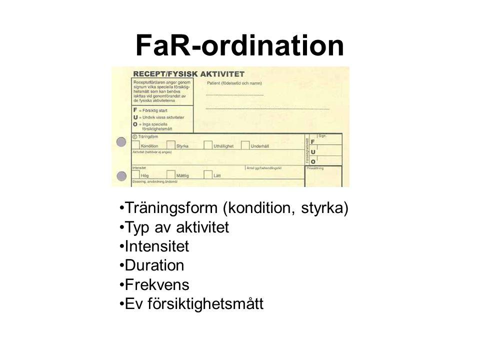 FaR-ordination •Träningsform (kondition, styrka) •Typ av aktivitet •Intensitet •Duration •Frekvens •Ev försiktighetsmått