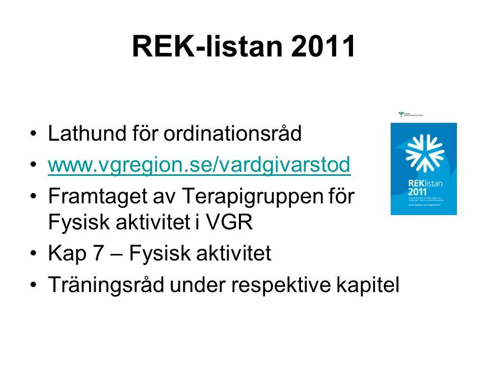 REK-listan 2011 •Lathund för ordinationsråd •www.vgregion.se/vardgivarstodwww.vgregion.se/vardgivarstod •Framtaget av Terapigruppen för Fysisk aktivit