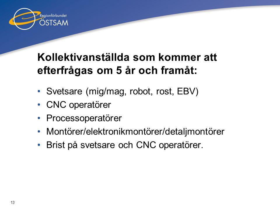 13 Kollektivanställda som kommer att efterfrågas om 5 år och framåt: •Svetsare (mig/mag, robot, rost, EBV) •CNC operatörer •Processoperatörer •Montöre
