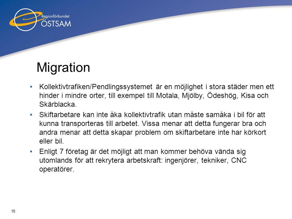 18 Migration •Kollektivtrafiken/Pendlingssystemet är en möjlighet i stora städer men ett hinder i mindre orter, till exempel till Motala, Mjölby, Ödes