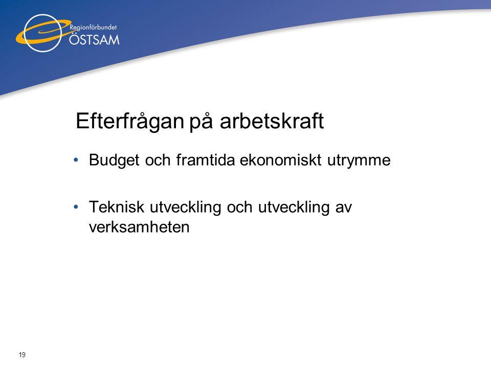19 Efterfrågan på arbetskraft •Budget och framtida ekonomiskt utrymme •Teknisk utveckling och utveckling av verksamheten