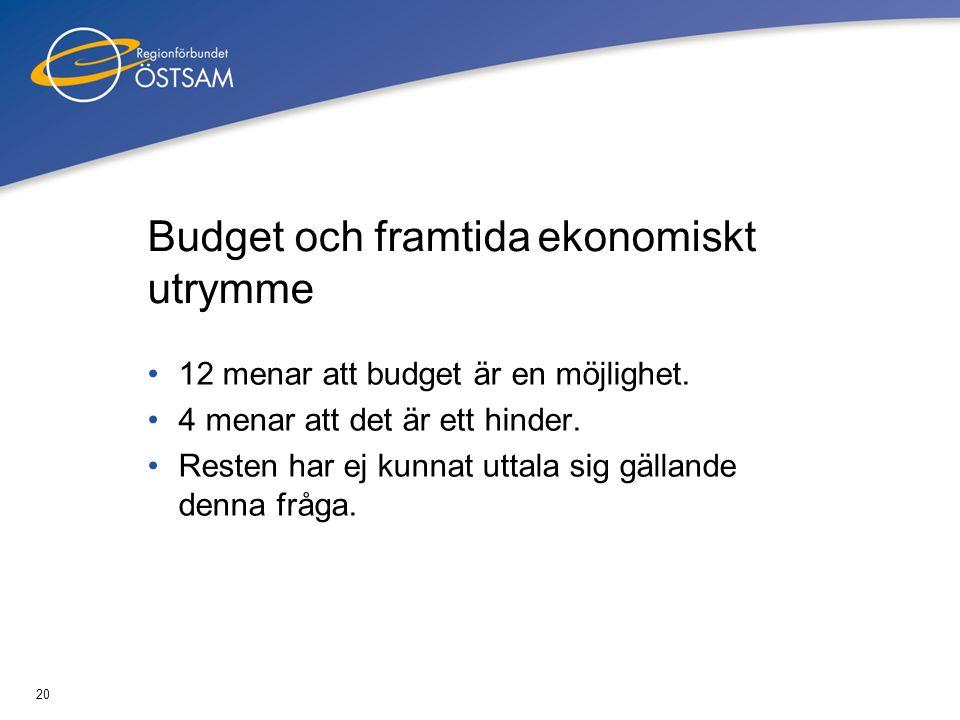 20 Budget och framtida ekonomiskt utrymme •12 menar att budget är en möjlighet. •4 menar att det är ett hinder. •Resten har ej kunnat uttala sig gälla