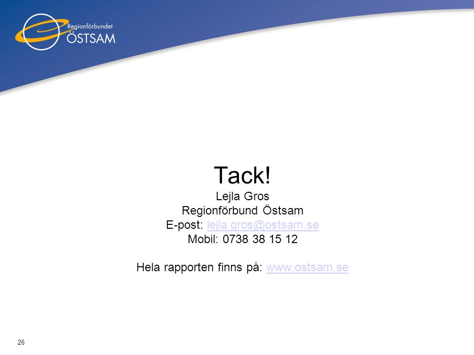 26 Tack! Lejla Gros Regionförbund Östsam E-post: lejla.gros@ostsam.se Mobil: 0738 38 15 12 Hela rapporten finns på: www.ostsam.selejla.gros@ostsam.sew
