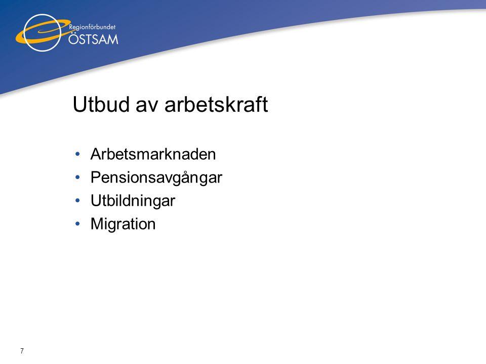 7 Utbud av arbetskraft •Arbetsmarknaden •Pensionsavgångar •Utbildningar •Migration