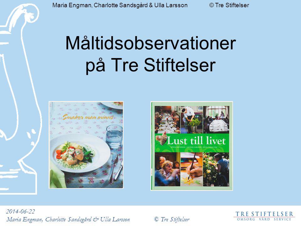 2014-06-22 Maria Engman, Charlotte Sandsgård & Ulla Larsson © Tre Stiftelser Måltidsobservationer på Tre Stiftelser