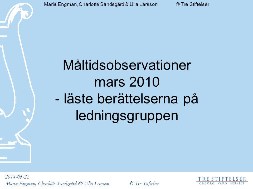 2014-06-22 Maria Engman, Charlotte Sandsgård & Ulla Larsson © Tre Stiftelser Måltidsobservationer mars 2010 - läste berättelserna på ledningsgruppen