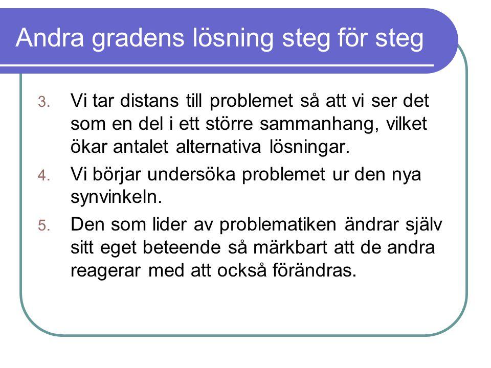 Andra gradens lösning steg för steg 3. Vi tar distans till problemet så att vi ser det som en del i ett större sammanhang, vilket ökar antalet alterna