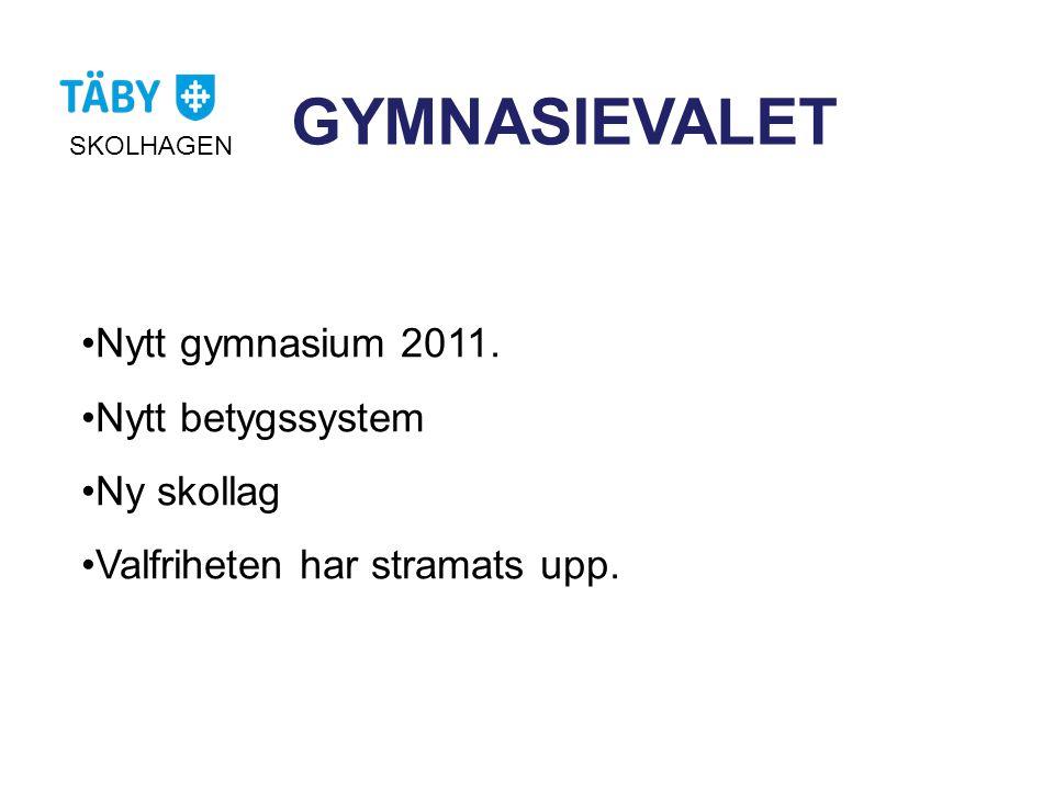 GYMNASIEVALET •Nytt gymnasium 2011. •Nytt betygssystem •Ny skollag •Valfriheten har stramats upp. SKOLHAGEN