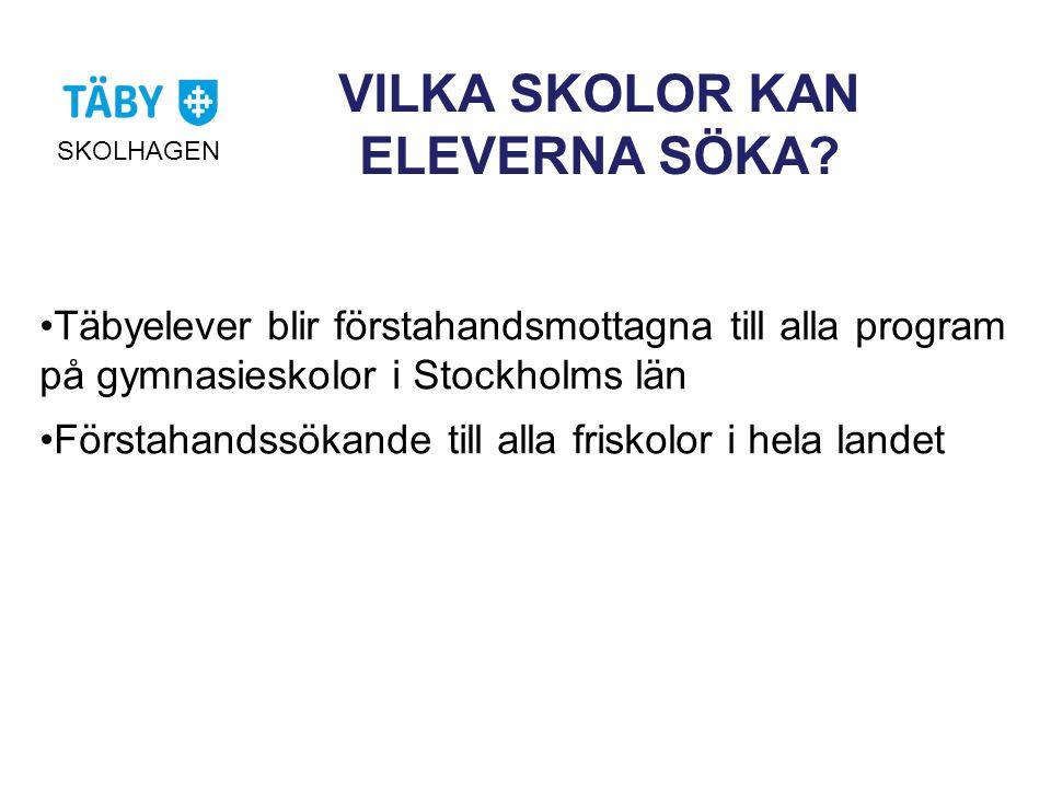 VILKA SKOLOR KAN ELEVERNA SÖKA? •Täbyelever blir förstahandsmottagna till alla program på gymnasieskolor i Stockholms län •Förstahandssökande till all