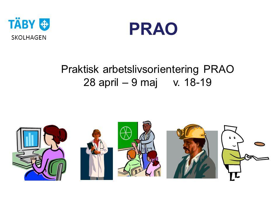 Praktisk arbetslivsorientering PRAO 28 april – 9 maj v. 18-19 PRAO SKOLHAGEN