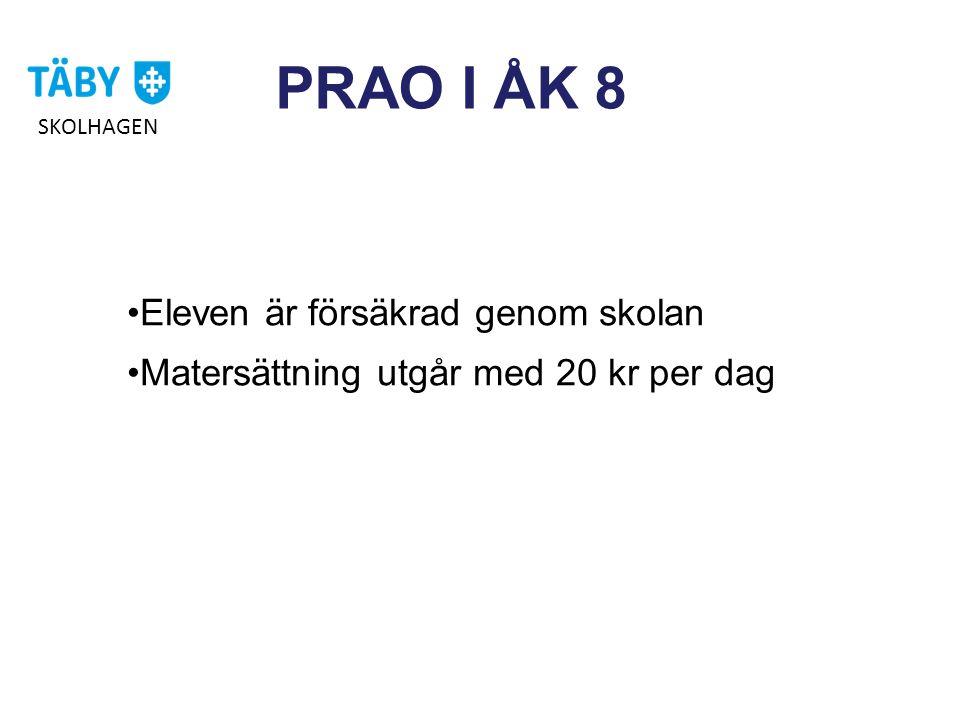 PRAO I ÅK 8 •Eleven är försäkrad genom skolan •Matersättning utgår med 20 kr per dag SKOLHAGEN