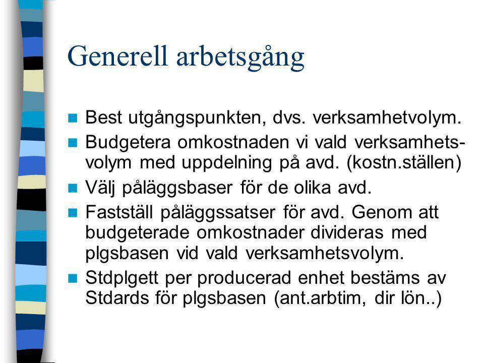 Generell arbetsgång  Best utgångspunkten, dvs. verksamhetvolym.  Budgetera omkostnaden vi vald verksamhets- volym med uppdelning på avd. (kostn.stäl