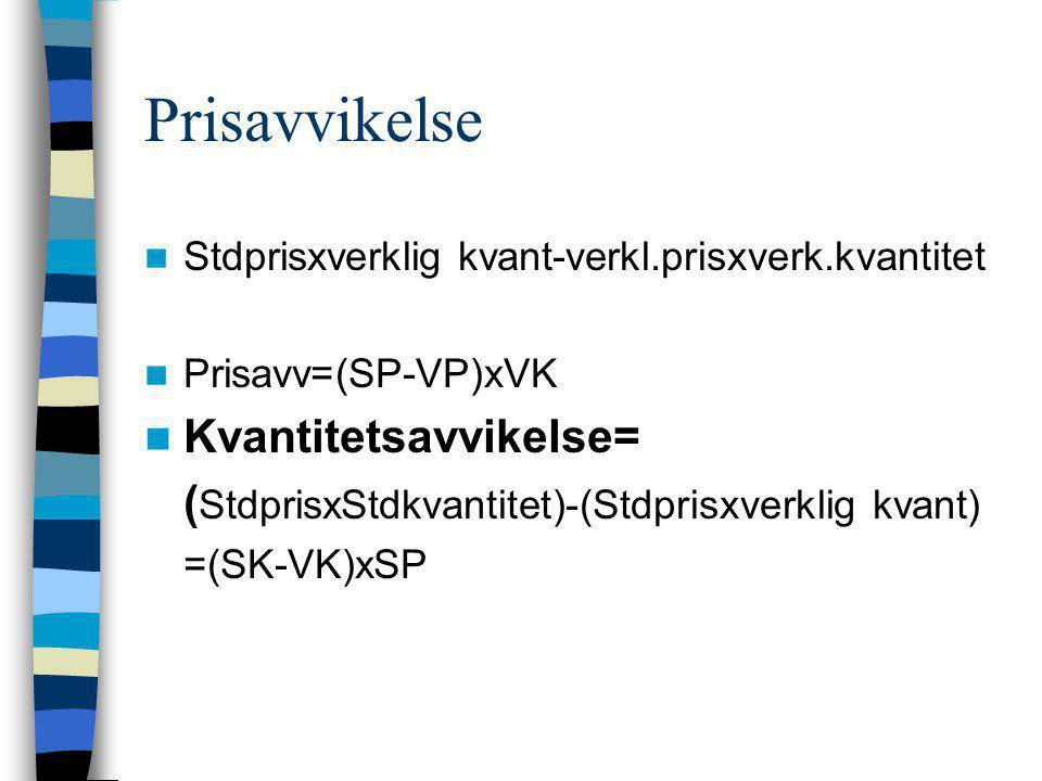 Prisavvikelse  Stdprisxverklig kvant-verkl.prisxverk.kvantitet  Prisavv=(SP-VP)xVK  Kvantitetsavvikelse= ( StdprisxStdkvantitet)-(Stdprisxverklig k