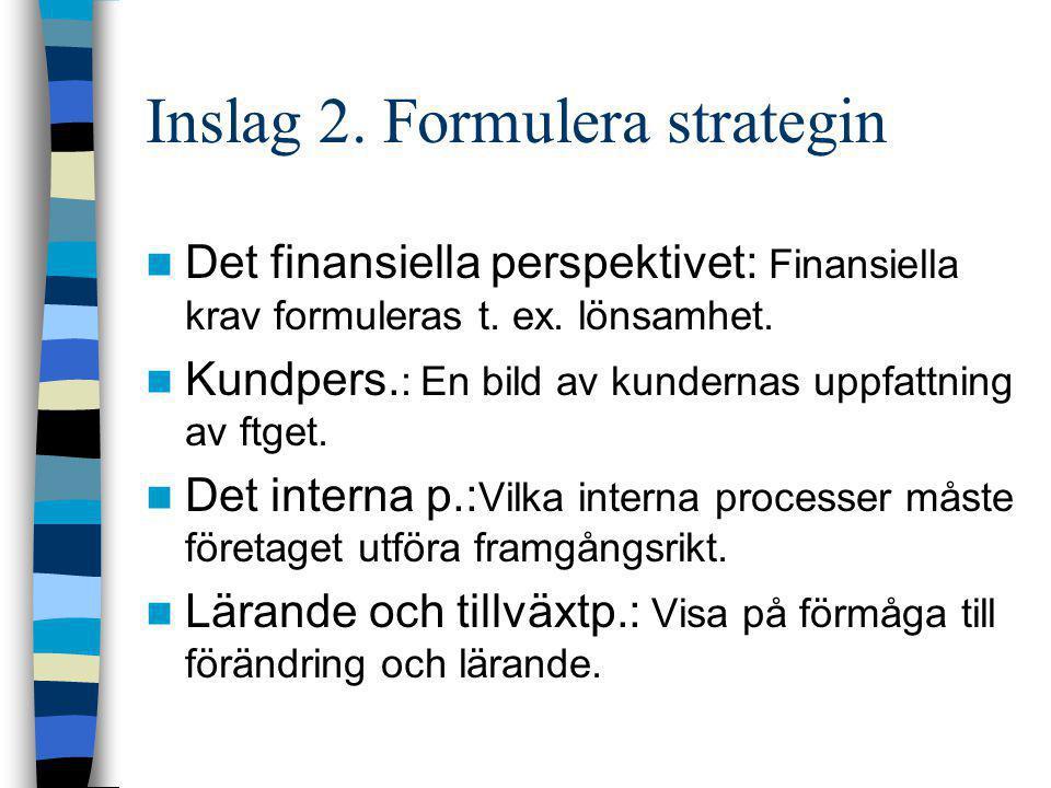 Inslag 3 Tag fram mål och mått  Efter vision och strategi klargjorts ska mål och prestationsmått tas fram för de perspektiv som valts.