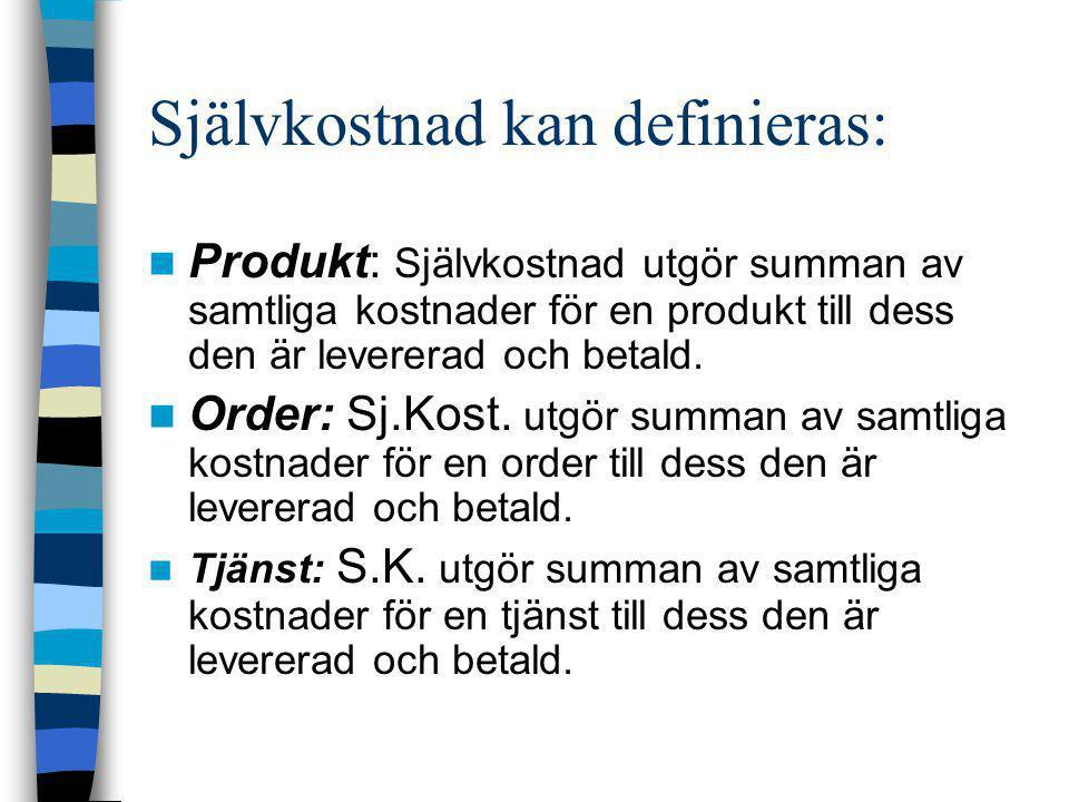 Självkostnad kan definieras:  Produkt: Självkostnad utgör summan av samtliga kostnader för en produkt till dess den är levererad och betald.  Order:
