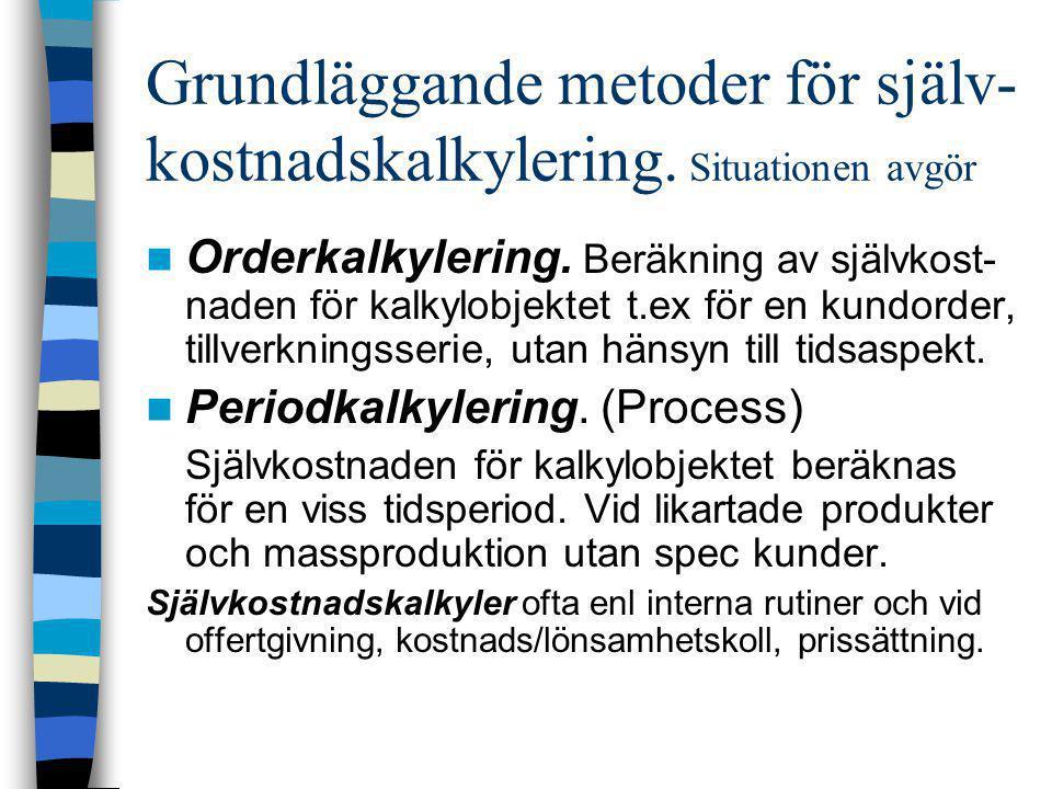 Grundläggande metoder för själv- kostnadskalkylering. Situationen avgör  Orderkalkylering. Beräkning av självkost- naden för kalkylobjektet t.ex för