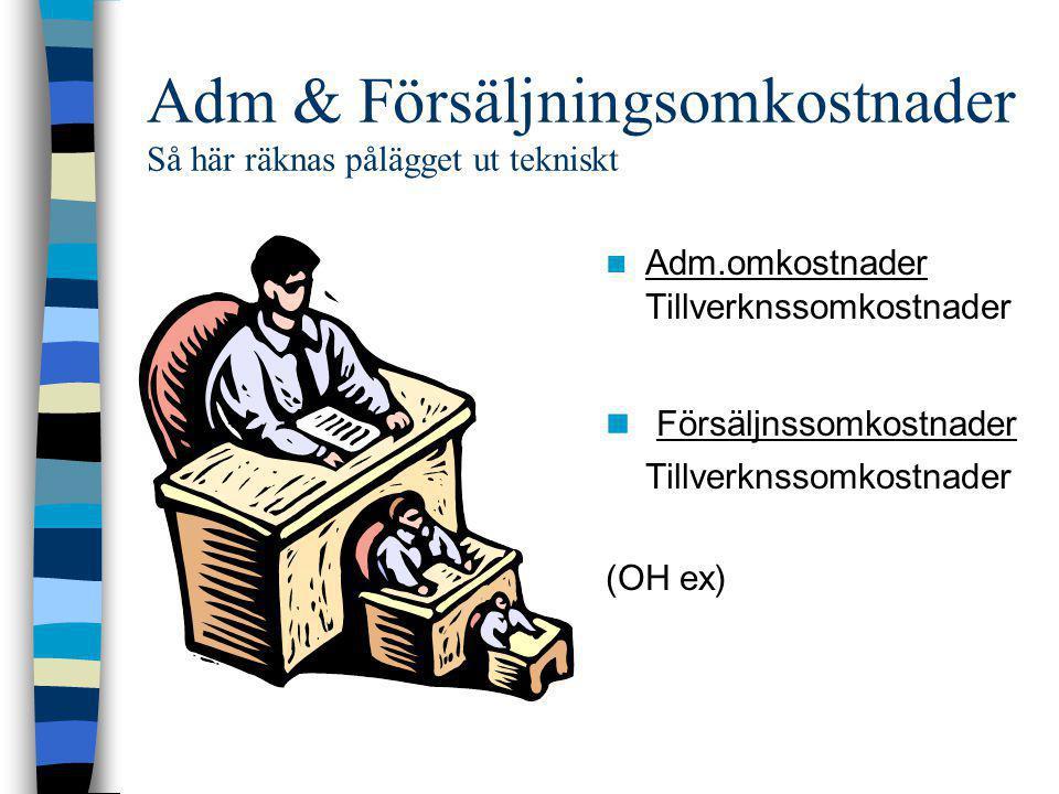 Adm & Försäljningsomkostnader Så här räknas pålägget ut tekniskt  Adm.omkostnader Tillverknssomkostnader  Försäljnssomkostnader Tillverknssomkostnad