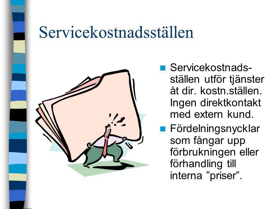 Servicekostnadsställen  Servicekostnads- ställen utför tjänster åt dir. kostn.ställen. Ingen direktkontakt med extern kund.  Fördelningsnycklar som