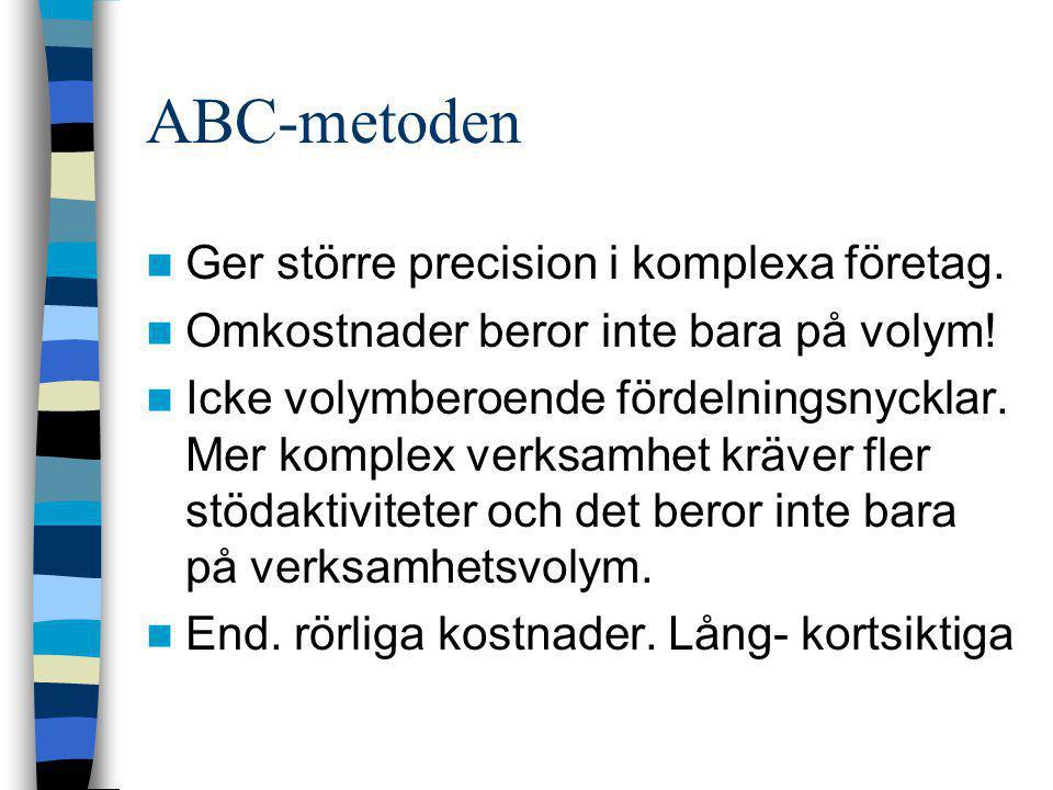 ABC-metoden  Ger större precision i komplexa företag.  Omkostnader beror inte bara på volym!  Icke volymberoende fördelningsnycklar. Mer komplex ve