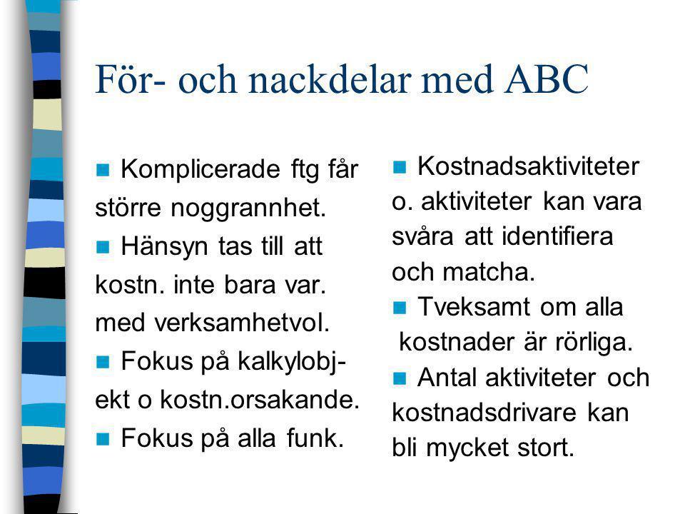 För- och nackdelar med ABC  Komplicerade ftg får större noggrannhet.  Hänsyn tas till att kostn. inte bara var. med verksamhetvol.  Fokus på kalkyl