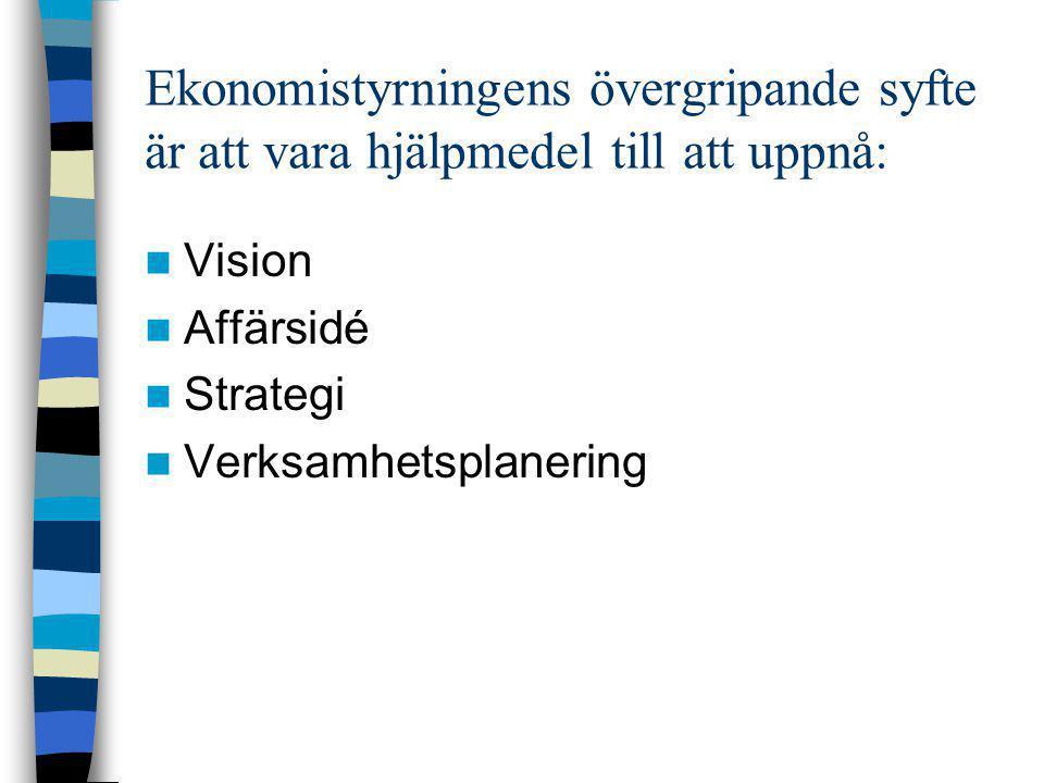 Ekonomistyrningens övergripande syfte är att vara hjälpmedel till att uppnå:  Vision  Affärsidé  Strategi  Verksamhetsplanering