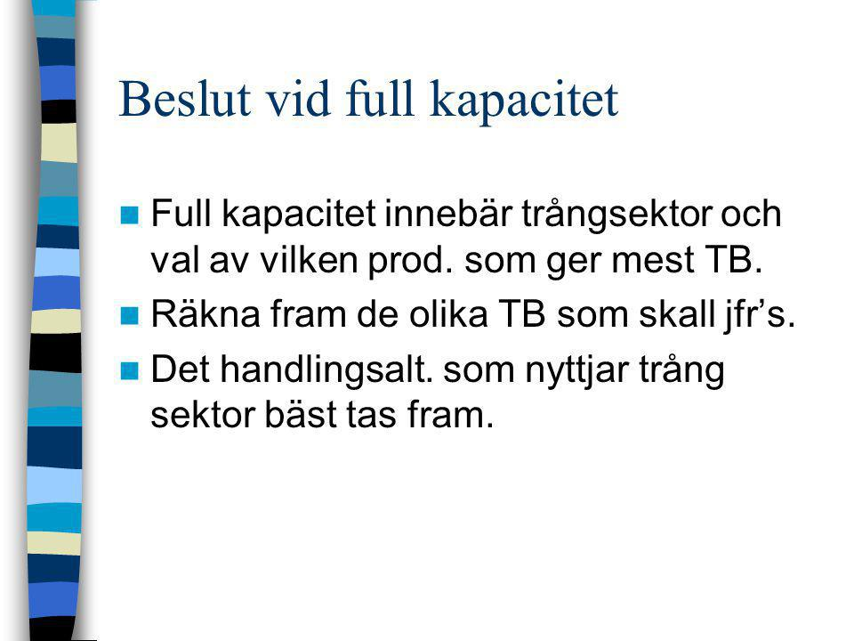 Beslut vid full kapacitet  Full kapacitet innebär trångsektor och val av vilken prod. som ger mest TB.  Räkna fram de olika TB som skall jfr's.  De