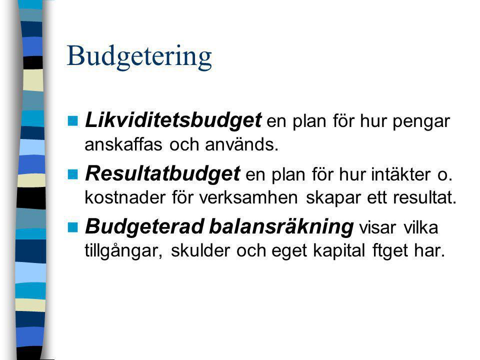 Budgetering  Likviditetsbudget en plan för hur pengar anskaffas och används.  Resultatbudget en plan för hur intäkter o. kostnader för verksamhen sk