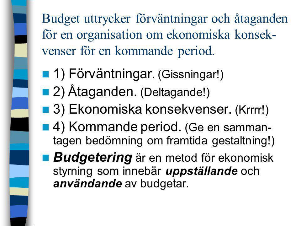 Budget uttrycker förväntningar och åtaganden för en organisation om ekonomiska konsek- venser för en kommande period.  1) Förväntningar. (Gissningar!