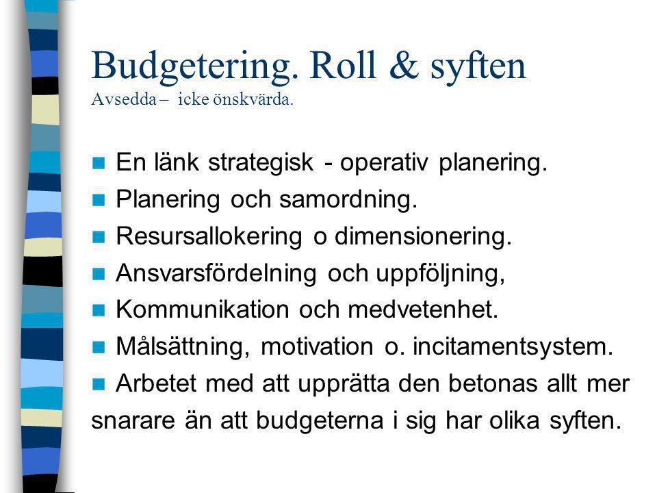 Budgetering. Roll & syften Avsedda – icke önskvärda.  En länk strategisk - operativ planering.  Planering och samordning.  Resursallokering o dimen