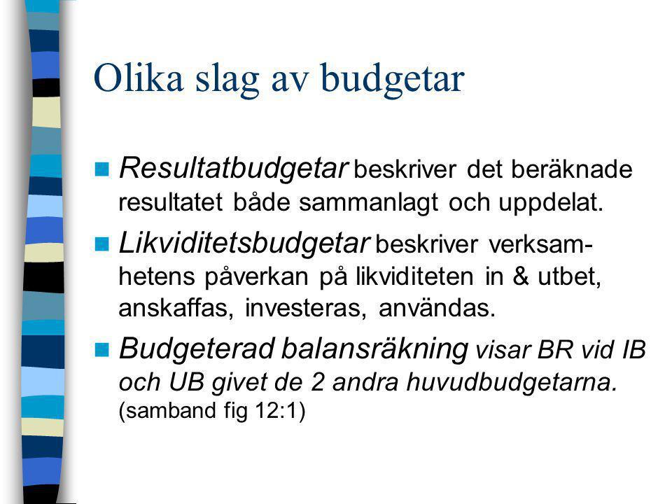Olika slag av budgetar  Resultatbudgetar beskriver det beräknade resultatet både sammanlagt och uppdelat.  Likviditetsbudgetar beskriver verksam- he