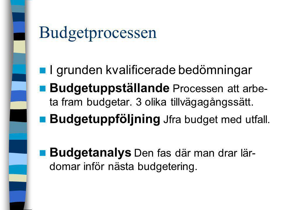 Budgetprocessen  I grunden kvalificerade bedömningar  Budgetuppställande Processen att arbe- ta fram budgetar. 3 olika tillvägagångssätt.  Budgetup