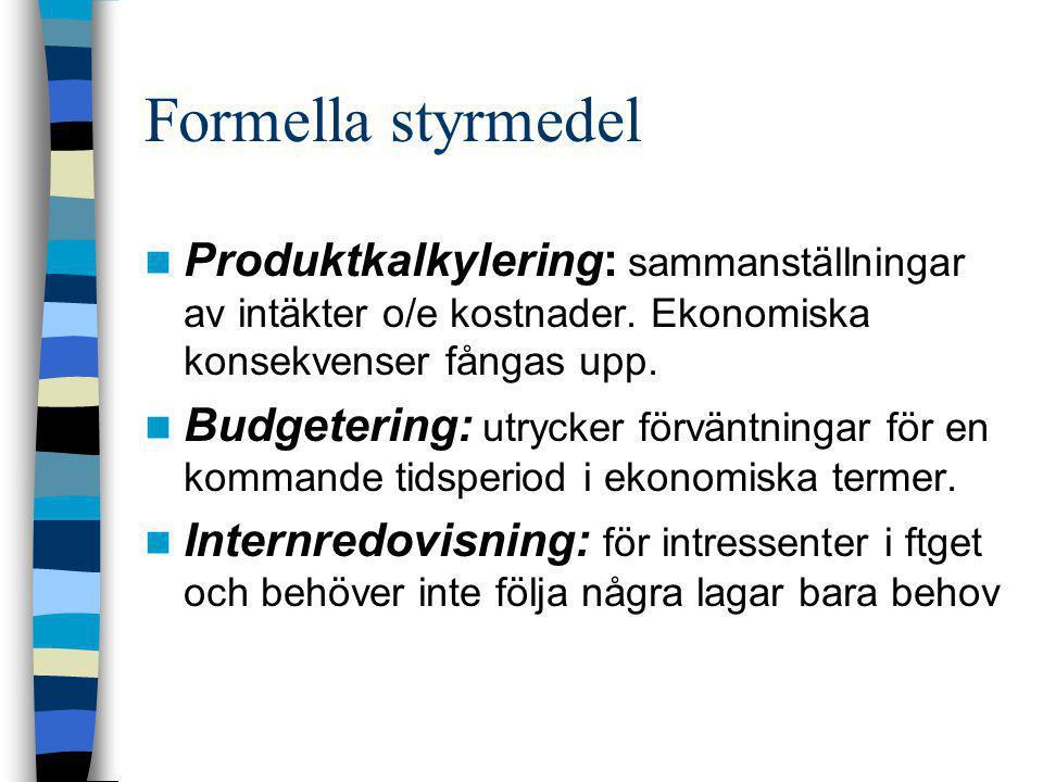 Formella styrmedel  Produktkalkylering: sammanställningar av intäkter o/e kostnader. Ekonomiska konsekvenser fångas upp.  Budgetering: utrycker förv